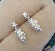 Bespoke 18ct White Gold Marquise Diamond Stud Earrings