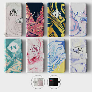 Tirita Personalised Wallet Flip Case for Samsung S10 S9 S8 Marble Vein Colourful