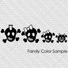 SKULL FAMILY PERSONALIZED VAMPIRE BONES HARLEY ROCK VINYL DECAL STICKER (SF-01)