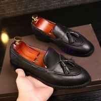 Mens Tassel Loafer Slip on Breathable Classic Round Toe Real Leather Formal Shoe