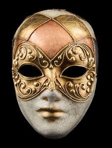 Mask from Venice Face Volto Golden Crackle Copper Paper Mache Gilding 1760 VG2