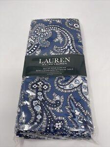 Ralph Lauren Brentwood Paisley Indigo Napkins - Set of 4 - 100% Cotton - New