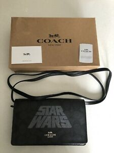 STAR WARS X COACH Hayden Signature Foldover Crossbody Clutch Handbag New Leather