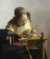 The Lacemaker by Jan Vermeer Wall Art Print on Canvas HQ Giclee Repro Small 8x10