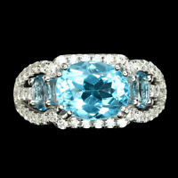 Oval Swiss Blue Topaz 10x8mm Cz 925 Sterling Silver Ring Size 8