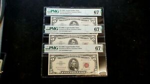 3 CONSECUTIVE 1963 FIVE DOLLAR PMG SUPERB GEM 67 EPQ RED SEAL NOTES $5 BILLS!