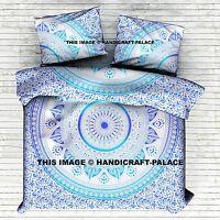 King Size Indian Ombre Mandala Hippie Duvet Quilt Cover Pillow Case Bedding Set