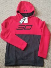 New! Boys Size Youth Xl Under Armour Sc Coldgear Pullover Hoodie Red & Black