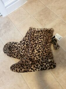 George Leopard Print Boot Slippers Size M (5/6) NEW with Tags