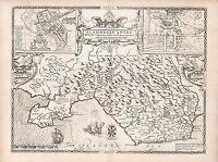 Old Antique Tudor map Glamorganshire John Speed 1600/'s Reprint Cardiff Wales