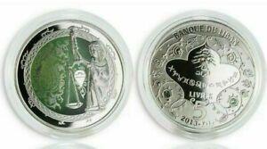 LEBANON 2013 5 LIRAS  ZODIAC SIGNS LIBRA COLORED  PROOF SILVER COIN