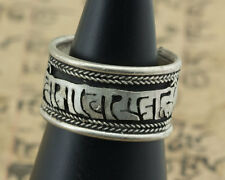 Bague tibetaine Mantra Om mani Padme Hum-metal Blanc-Free size- 4905 - J46