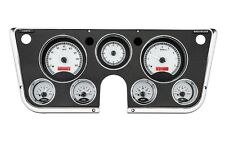 67-72 Chevy Truck C10 Dakota Digital Silver Alloy & Red Analog Clock Gauge Kit