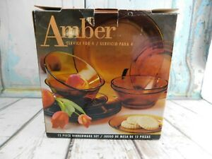 Vintage Amber Glass Glass 12 pc Dinnerware Service Set NOS