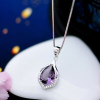 Amethyst Pendant Fashion Women's 925 Sterling Silver Chain Crystal Rhinestone WD