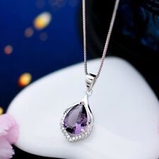 Amethyst Pendant Fashion Women's 925 Sterling Silver Chain Crystal Rhinestone #