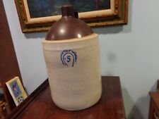 Large Antique 5 Gallon Whiskey Jug With Cobalt Blue Horseshoe? Design Stoneware