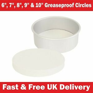 """Greaseproof Circles - 6"""", 7"""", 8"""", 9"""" 10"""" Inch Round Grease Proof Bake Tin Liners"""