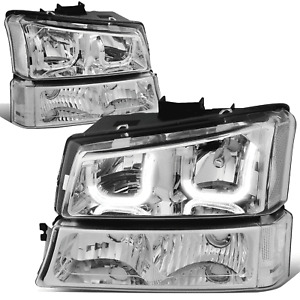 Fit 03-07 Chevy Silverado Chrome Clear J-Halo LED DRL Headlights w/ Bumper Lamps