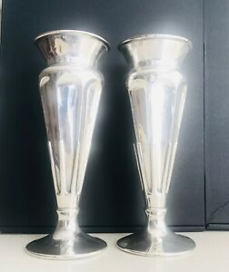 Antique English large pair of sterling silver vase  ,Sheffield ,hallmarked c1905