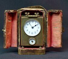 1900 pendulette de voyage miniature 7cm dans son écrin réveil horloge clock