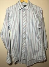 Ted Baker Mens Plaid Baby Blue Stripe London Long Sleeve Size 15 Hipster