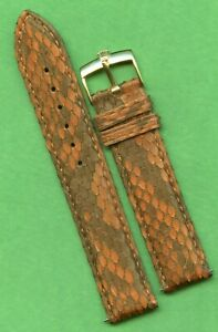 19mm Brown Genuine Snake Skin MB Strap Band Leather Lined & Rolex Gold Buckle