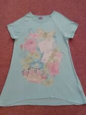 Girl's pale green short sleeve top, butterfly/roses/crown Tesco F&F Age 8-9
