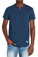 Buffalo David Bitton Mens Shirt Blue Size 2XL Henley Striped Textured $45 107
