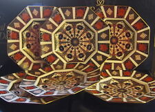 """New Royal Crown Derby 2nd Quality Old Imari 1128 Set of 6 x 9"""" Octagonal Plates"""