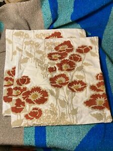"""Pair of Pottery Barn Floral California Poppy Pillow Covers 18"""" Square"""
