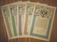 ÖSTERREICH AUSTRIA 5 verschiedene 4. Kriegsanleihe 1916 Austrian War Loan