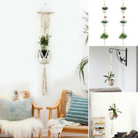 Macrame Plant Hanger 3 Tier Flower Pot Holder String Hanging Rope Wall Art Deco