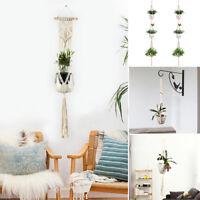 Macrame Plant Hanger Outdoor Indoor Hanging Planter Pot Basket Jute Rope UK