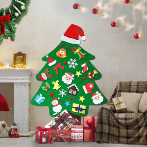 37X DIY Felt Christmas Tree Santa Ornaments Wall Door Hanging Decor Kids Gif