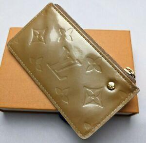 Auth LOUIS VUITTON Monogram Vernis Pochette Cles Key Pouch CA0035 Beige/Gold