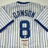 Autographed/Signed ANDRE DAWSON Chicago White Pinstripe Baseball Jersey JSA COA