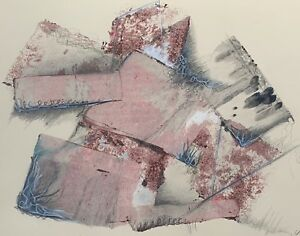 Vintage 80s Mixed Media Abstract Collage Art Wall Hanging Modern Signed Framed