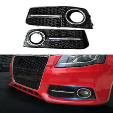 2pc RS4 S4 Style Front Fog light Box Grill Grille For Audi A4 B8 2008-2012 Black