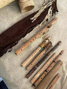 ESTATE NATIVE AMERICAN WORLD EASTERN FLUTE COLLECTION LOT USA ARTIST MADE FL