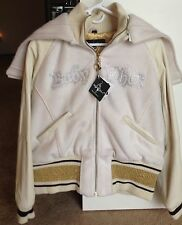 New BABY PHAT WHITE GOLD LEATHER WOOL ZIP HOOD FULL LINED JACKET COAT 2XL