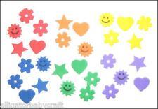 """480 Foam 1/2"""" Heart Star Sun Flower Stickers Girls Bright Rainbow Colors Abcraft"""