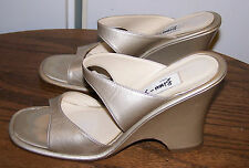"""BISOU BISOU Goldtone Sandals - 3.75"""" Heel - Size 6.5 - EUC!"""