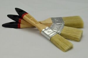 Set of 3 Master Paint Brushes, Chalk Paint Wax Natural Pure Bristle Shabby Chic