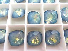 1 White Opal Star Shine Swarovski Crystal Square Cushion Cut  Stone 4470 12mm