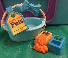 Vintage Kenner Littlest Pet Shop Bashful Bunny with Basket & Food Lot