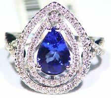 2.16ct 14k ORO Tanzanita Natural Diamante Vintage AAA Anillo Compromiso Boda