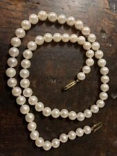 "17.75"" Long String Of Culture Pearls 6-8mm Diameter Set 9ct Gold Clasp"