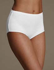M & S Size 10 Cotton Blend High Waist Knickers Panties Briefs White