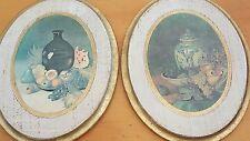 Vintage Italian Renaissance Plaques-(2) Fruit Motif-Oval-Gold Rim-